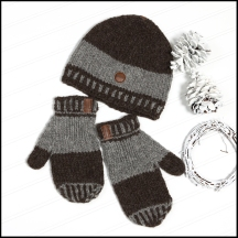 Prairie toque and mitts (dark - natural series)