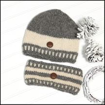 Prairie toque and mitts (light - natural series )